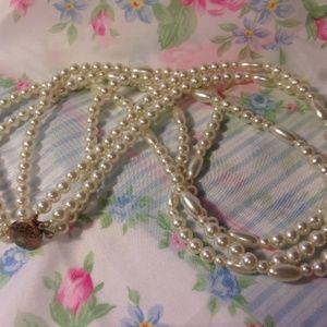 "Vtg Triple Strand Faux Pearl Bead Necklace 28"" L"
